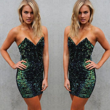 Sexy Deep V Sequined Tight Wrap Chest Strapless Dress