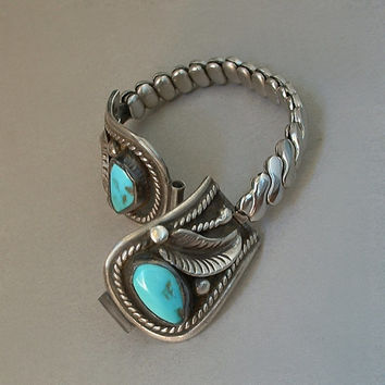 Signed D&J Clark Vintage Native American NAVAJO Sterling Watch Band Tips Turquoise Cowboy Saddle Motif Stretch Band c.1960's