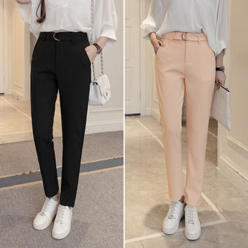 Autumn Korean Casual Pants Slim High Waist Blazer Waistband [8664676487]