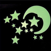 NEW Moon Star Noctilucent Glow In The Dark Wall Sticker Kid Decal US LS