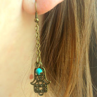 Hamsa Hand Earrings Yoga Earrings Turquoise Earrings Spiritual Protection Earrings Boho Earrings Ohm Turquoise Earrings