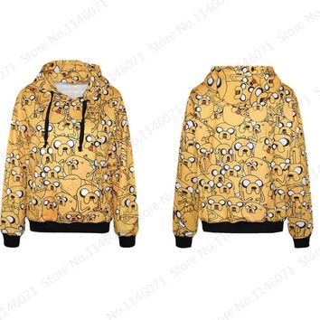 Cartoon Jake The Dog Hooded Sweatshirts Hip-Hop Yellow Long Sleeves Men Skateboard Hoodies Adventure Time Jumper Pullover Unisex