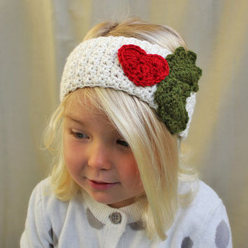 Crochet Pattern: The Noel Warmer -Toddler, Child, & Adult Sizes- Holly Berries Heart quick and easy DIY holiday gift