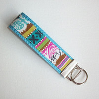 Chevron Key FOB / KeyChain / Wristlet  - boho stripe blue on blue