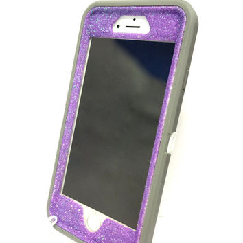iPhone 6 (4.7 inch) OtterBox Defender Series Case Glitter Cute Sparkly Bling Defender Series Custom Case  gray / purple