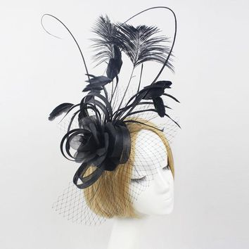 Fascinator Fashion Bride Headdress Feathers Dance Show Headdress Covered The Face Veil Party Hat Headdress Hairpin Headwear