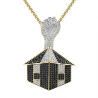 14k Gold Finish Trap House Fist Iced Out Pendant Necklace