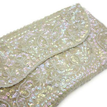 Sequin Beaded Purse - Embroidered Seed Bead Bridal Wedding, Clutch Bag, AB Finish, La Regale