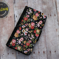 Black Floral Pattern Apple iPhone 5/5s Wallet case