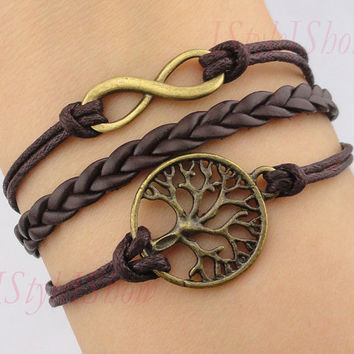 Bracelet, Infinity bracelet,wish tree bracelet, antique bronze bracelet&brown leather chain, friendship, christmas gift,