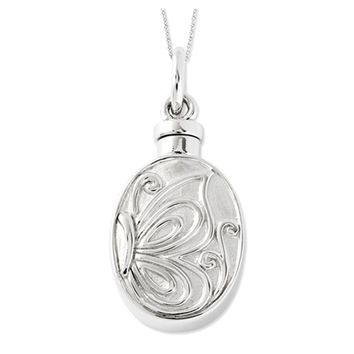 Rhodium Plated Sterling Silver Oval Butterfly Ash Holder Necklace