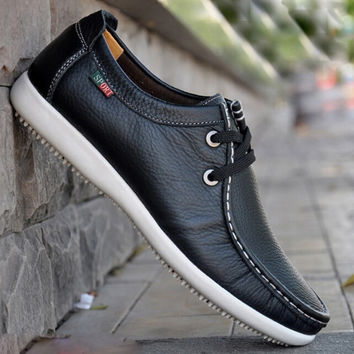 Fashion Brand Man Sneakers Genuine Leather Men's Casual Shoes,Autumn Daily Flats shoes For Men