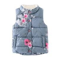 Kid Infant Floral Jackets Baby Toddler Warm Waistcoat Clothes Coat