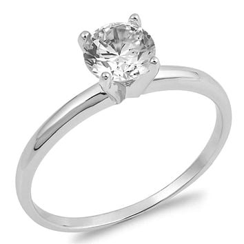 Sterling Silver Classic Round 1/2 Cubic Zirconia Solitaire 4 Prong Engagement Ring