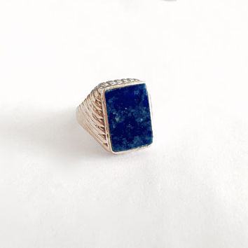 Men's Ring with Rectangular, Bezel Set, Blue Lapis Stone  in Sterling Silver Setting, Lapis Lazuli Ring   - Approximate Ring Size 9.5