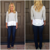 Earn Your Stripes Lace Detailed Sweater Top