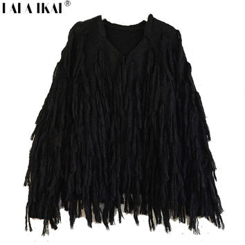 Women Fringe Furry Cardigan Hand-Knitted Winter Tassels Sweaters Crochet Cardigan Black Coat SWD0178 -5
