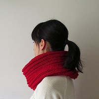 Hand Knitted Cowl in Carmen Red - Chunky Knit Cowl - Neckwarmer - Wool Blend