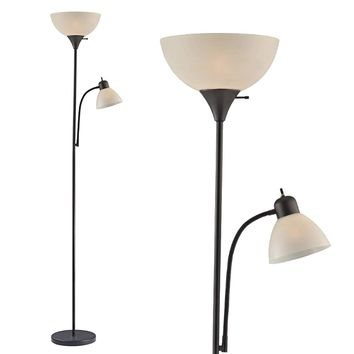Floor Lamp with Side Reading Light By LightAccents (Black) Model 6280-21