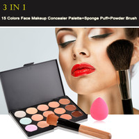 New 15 Colors Contour Face Cream Makeup Concealer Palette + Sponge Puff Powder Brush