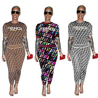 Fendi Tide brand women's letter printing casual high-end two-piece