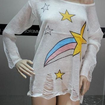 White Galaxy Print Hollow-out Round Neck Pullover Sweater