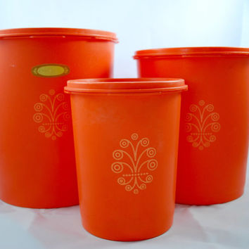 Tupperware Containers Orange Kitsch Servalier , Stackable Food Storage Plastic Container
