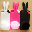 Cute Bunny Fluffy Tail with Bow Soft Silicone Iphone 5 Case Skin- 3 color to choose--Pink, black, white