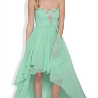 Strapless High Low Prom Dress with Stone Ruched Bodice