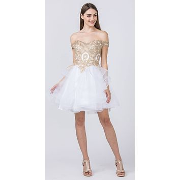 Off-Shoulder Homecoming Tiered Short Dress White/Gold