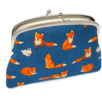 Fox kiss lock purse with divider, blue frame wallet with two compartments - cute woodland design