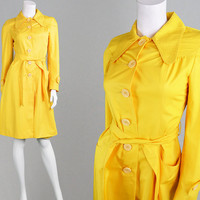 Vintage 70s Bright Yellow Mod Coat Womens Raincoat Rain Coat Trench Coat Yellow Mac Womens Mackintosh Round Collar 1970s Coat Cotton Blend