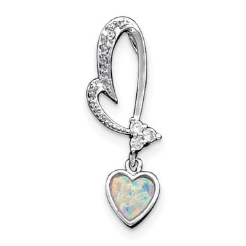 Sterling Silver White Opal And CZ Heart Pendant