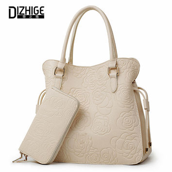 DIZHIGE Brand 2017 Women Bag Print Rose Floral Handbags Women PU Leather Tote Bags Ladies Crossbody Bags Designer Sac A Main New