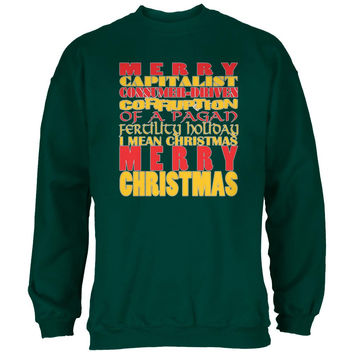 Christmas Sarcastic Merry Pagan Funny Forest Green Adult Sweatshirt