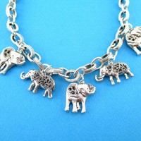Realistic Elephant Shaped Linked Charm Necklace in Silver