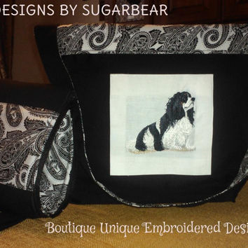 CAVALIER King Charles HANDBAG PURSE ToTE Embroidered & Matching Cosmetic Bag Elegant Mother's Day Gift Boutique Unique Designs by Sugarbear