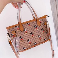 GUCCI x Disney Women Shopping Mickey Mouse Print Leather Handbag Tote Crossbody Satchel Shoulder Bag