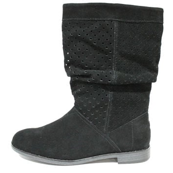 Toms Women's Serra Black Suede Perforated Boots