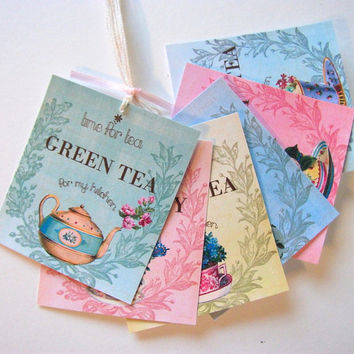 Time for Tea Tags  - Tea Party - Tea Time - Set of 6