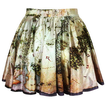 Women Girls Digital Print middle earth map Stretchy Flared Pleated Casual Mini Skirt (Size: M, Color: Multicolor) = 1946816836