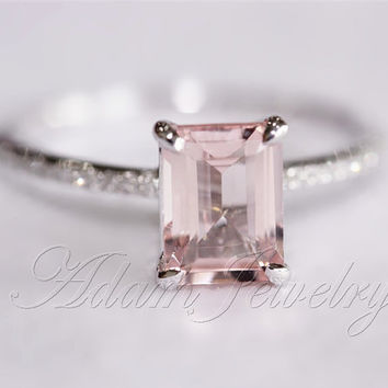 Pink Emerald Cut VS Morganite Ring SI/H Diamonds Wedding Ring 14K White Gold/ White Gold Engagement Ring/ Promise Ring/ Anniversary Ring