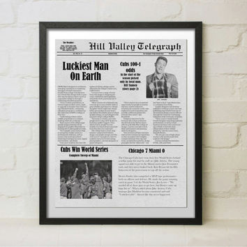 Back to the Future October 2015 Hill Valley Telegraph Newspaper Front Page Chicago Cubs Win World Series Biff Tannen Gambles Big
