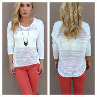 Ivory Zipper Lightknit Top