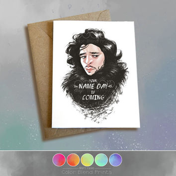 Game of Thrones Birthday Card, Jon Snow, Bastard Greeting Card 5 x 6.5, Note Card, 5 x 7, Caricature, Happy Name Day, Portrait Drawing