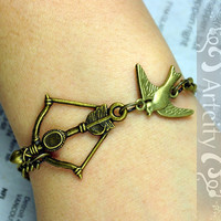 Hunger Games Inspired BOW with BIRD bracelet by ArtCity2011