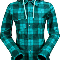 Volcom Circle Flannel Water Resistant Flannel Womens Jacket - Island Green