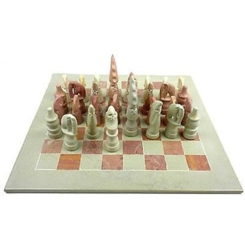"Hand Carved Maasai Chess Set - 14"" Board"