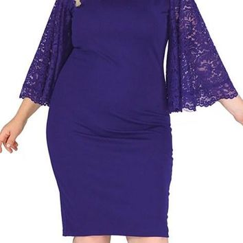 Chic Navy Lace Flutter Sleeve Plus Size Bodycon Formal Dress