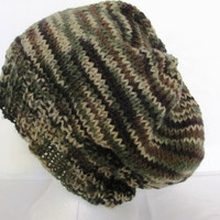 Hand Knit Hat Camo Camouflage Super Slouch  Unisex Over Sized Beanie Rasta Hat